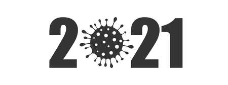Happy New Year 2021 anti coronavirus concept. Holiday greeting card without virus pandemic. Stop corona virus in 2021 sign. Creative pandemic info banner. Vector illustration Illustration