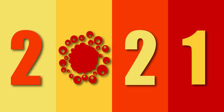 Happy New Year 2021 anti coronavirus concept. Holiday greeting card without virus pandemic. Stop corona virus in 2021 logotype. Creative pandemic info banner. Vector illustration
