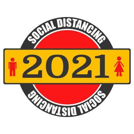 Happy New Year 2021 anti coronavirus concept. Social distancing. Holiday greeting card without virus pandemic. Stop corona virus in 2021 logotype. Vector illustration Illustration