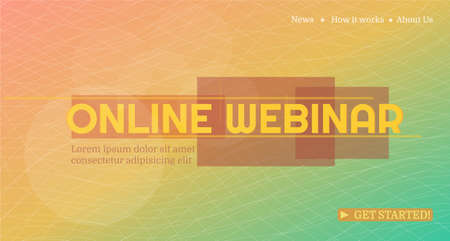 Online webinar template. Landing page. Online concept mock up for business conference announcement. Modern minimal geometric design. Advertising poster template for online courses, webinar. Abstract light landing page. Vector illustration.