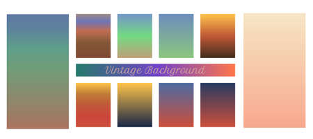 Collection of abstract vector gradient backgrounds set with vintage feel. Vivid gradient backgrounds. Set of gradient backgrounds vintage color.