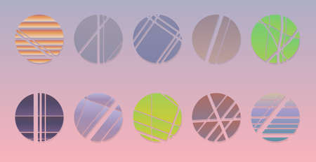 Set of minimalistic shapes. Halftone bright color spheres set. Vinatge stylish emblems. Vector spheres with abstract stripes, hexagons and triangles for web designs.