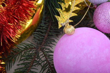Christmas frame, greeting card. New year balls, gifts or present box and holiday decoration. Happy New Year composition. Stock Photo