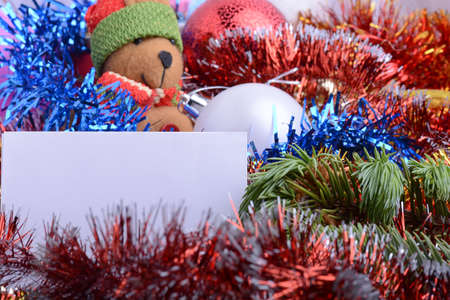 2021 Happy New Year and Christmas card with Teddy Bear, Balls and Gifts. New year and Christmas invitation background.