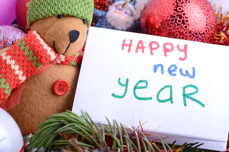 2021 New Year and Christmas with Teddy Bear And Gifts. New year and Christmas holiday invitation card. Stock Photo