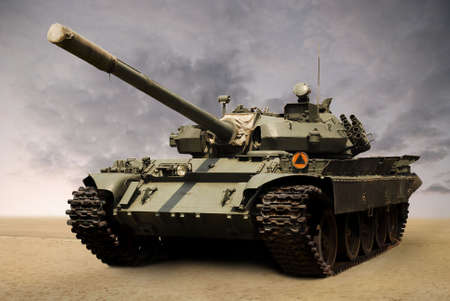 shot of a Russian military tank from seventies. Cannon covered with his original case. Stock Photo