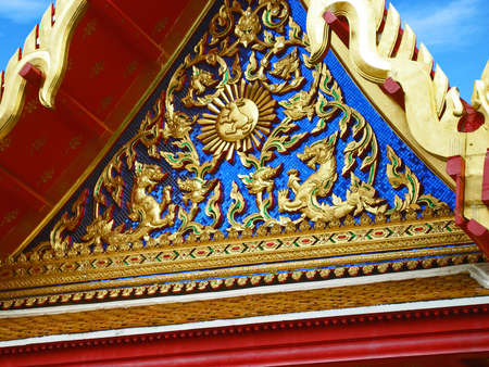 buddhist temple roof: detail of the buddhist temple roof in Bangkok Stock Photo