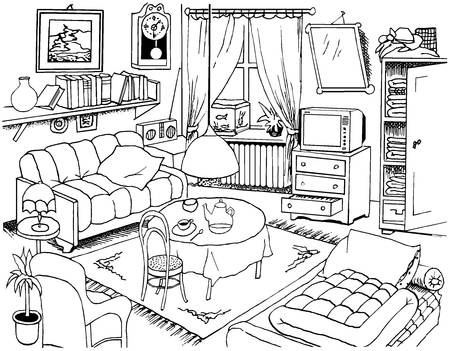 hand made ink drawing illustration. There are all objects which are in the living room