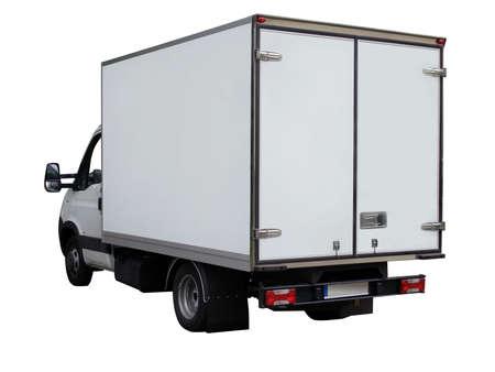 Carga furgoneta blanca sobre fondo blanco
