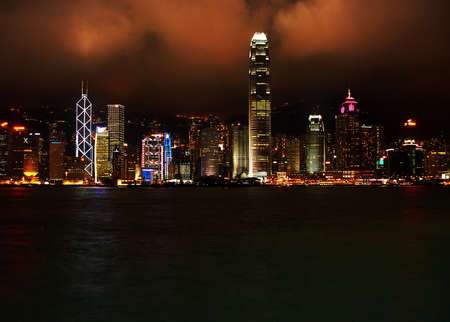 Hong Kong financial district by night Stock Photo