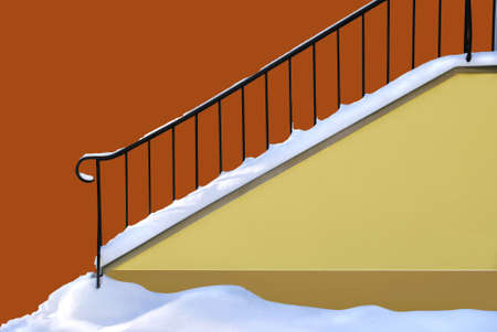 Snowed entrance to the building. Path for stairs. Stock Photo - 1686636
