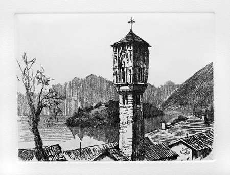 bell tower: Ancient bell tower on Como Lake. Aquaforte press graphic technique.