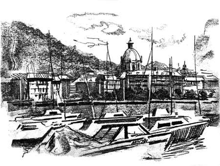 Port in Como. Lake has a same name.General view of the historical part.