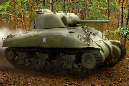 wartime: US tank in action. Montage from few images. Stock Photo