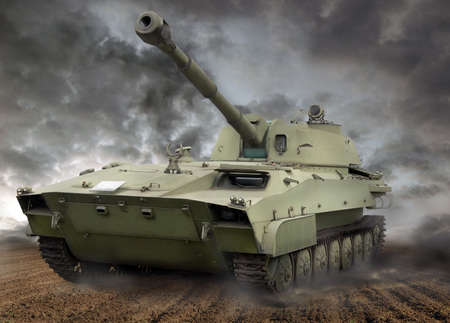 Tank from late eighties in action. Russian made.  photo