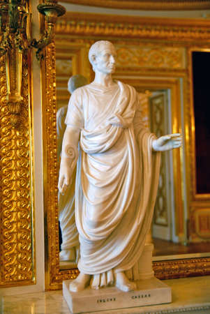 Julius Caesar white marble statue. Stock Photo