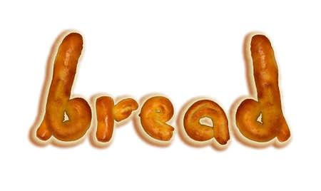 artisan bakery: Baked bread in shape of letters.