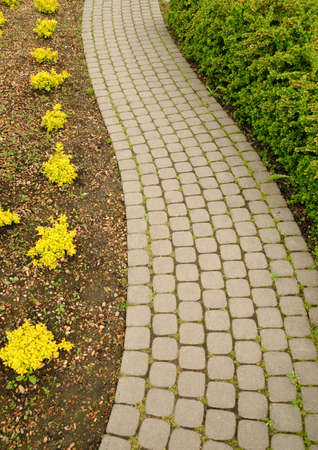 Bricks footpath in the garden. Stock Photo
