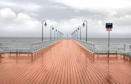 Jetty boardwalk on the sea.