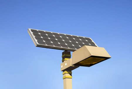 Solar powered electric city lantern. Stock Photo