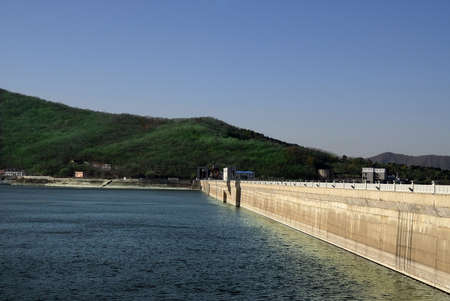 Hydro power plant on the river in north China. Songhua lake.
