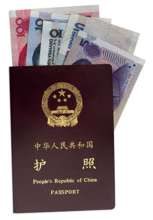 Chinese passport and money inside Stock Photo