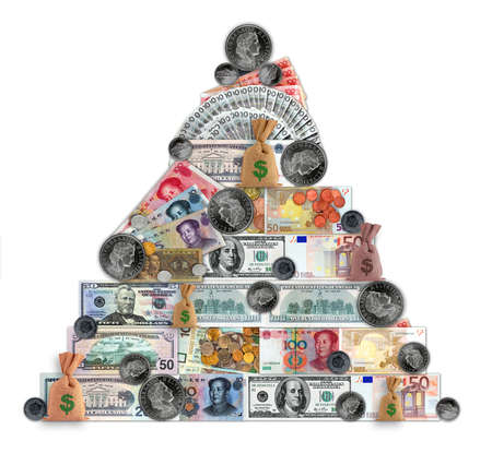 Money pyramid contain different currencies. Banknotes and coins.