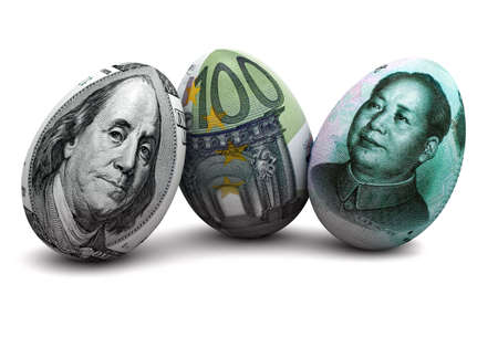 correlation: Illustrazione del dollaro, euro, yuan cinese e banconote in forma di uovo