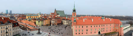 Panoramic wide view of Old Town in Warsaw.