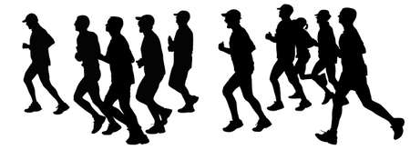 long distance: Black and white illustration about marathon runners silhouette. Different age peoples long distance slow running. Stock Photo