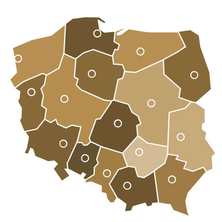 eastern europe: Administrative map of Poland with red spots placed where are main cities of each province.