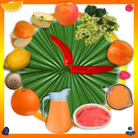 Allegoric nutrition image of fruits and vegetables  mounted together in clock shape.