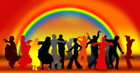 latin girl: People dancing flamenco. Illustration. Stock Photo