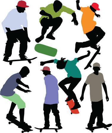 Siluetas Skaters din�mica. Imagen vectorial con camisas de color y las tapas.