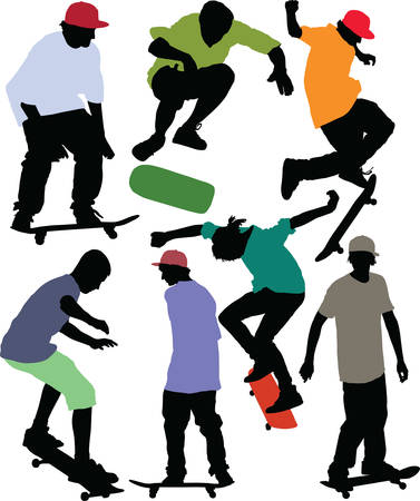 Skateboarders dynamic silhouettes. Vector image with color shirts and caps.