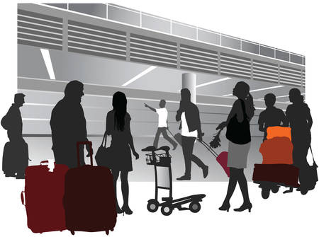 Traveling people inside airport terminal. Vector illustration.