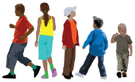 Kleur de illustratie van vijf kinderen collectie in verschillende leeftijd. Zomer kleding. Vector Illustratie