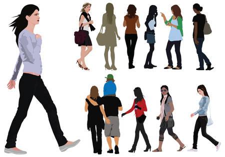 young people group: Illustrazione di giovani donne