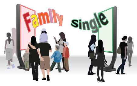 allegoric: Family life or to be single, allegoric illustration.