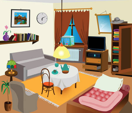 Room interior color illustration. All objects are there. Ideal for visual dictionary. Vector