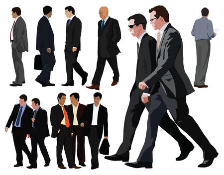 Businessman vector color illustration. Twelve persons. Between them two couples. Realistic graphic with color clothes and faces. Vector
