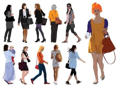 Siluetas joven mujer de color ilustraci�n vectorial. Ropa de verano.