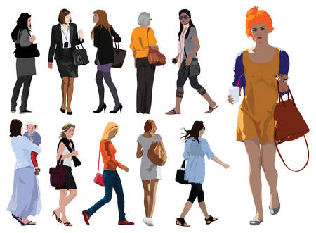 Young woman silhouettes color vector illustration. Summer clothes.