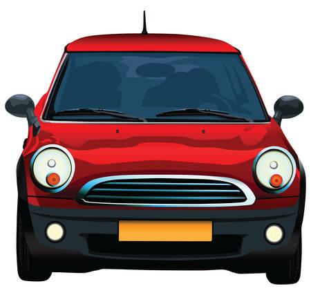 Frente del peque�o coche rojo alem�n. Ilustraci�n vectorial realista. Vectores
