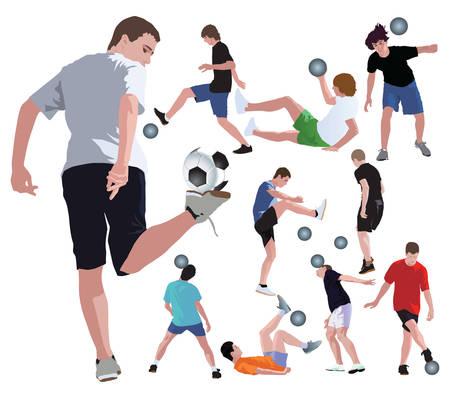 Malabaristas de f�tbol que juegan con la pelota. Ilustraci�n en color Vector realista.