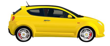 car tire: Sport Italiaanse auto. Stuurprogramma binnen. Realistische vectorillustratie