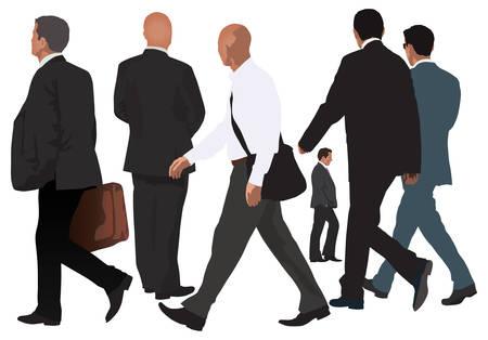 Colecci�n de vectores de hombres. Un par de caminar juntos y cuatro personas aisladas �nica. Ilustraci�n de color realista. Aspecto de negocio.