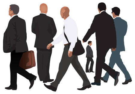 Men vector collection. One pair walking together and four single isolated people. Realistic color illustration. Business look. Vector