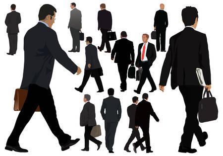 businessman walking: Men in suit illustrations collection