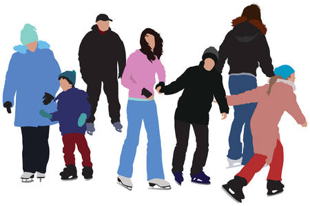 Group of skating on ice people. Color vector illustration.